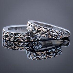 14k white Gold Small Hoop Diamond Cut Earrings